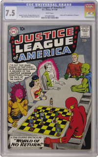 Justice League of America #1 (DC, 1960) CGC VF- 7.5 White pages. This first issue is ranked among the top 15 Silver Age...