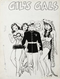 "Original Comic Art:Splash Pages, Jack Sparling - Fighting Leathernecks #4 ""Gil's Gals"" Pin-Up SplashPage Original Art (Toby Press, 1952). Handsome marine Gi..."