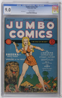 Jumbo Comics #20 (Fiction House, 1940) CGC VF/NM 9.0 Off-white pages. Our grade-A Jumbo run continues with the highest-g...