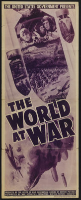 "The World at War (War Activities Committee, 1942). Insert (14"" X 36""). Documentary. Narrated by Paul Stewart..."