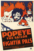 "Movie Posters:Animated, Fightin' Pals (Paramount, 1940). One Sheet (27"" X 41""). Popeye, oneof the most beloved characters in the Paramount cartoons..."