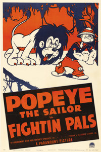 """Fightin' Pals (Paramount, 1940). One Sheet (27"""" X 41""""). Popeye, one of the most beloved characters in the Para..."""