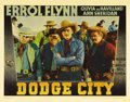 "Movie Posters:Western, Dodge City (Warner Brothers, 1938). Lobby Cards (3) (11"" X 14"").Along with ""Stagecoach,"" this Errol Flynn Western revitaliz...(Total: 3 Items)"