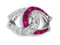 Estate Jewelry:Rings, Art Deco Diamond, Ruby, Platinum Ring, Oscar Heyman. The ringfeatures two intertwined horseshoes, one enhanced by full-cu...