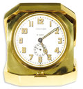 Timepieces:Clocks, Tiffany & Co., Gold, 8-Day Travel Alarm Clock, Retro. Case: 27 mm, 18k yellow gold, case back engraved 134572 outside, ins...