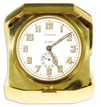 Tiffany & Co., Gold, 8-Day Travel Alarm Clock, Retro  Case: 27 mm, 18k yellow gold, case back engraved 134572 outsid...
