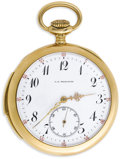 Timepieces:Pocket (post 1900), C.D. Peacock Gold, Openface Minute Repeater Pocket Watch, Circa1900. Case: 48 mm, 14k yellow gold, engraved inside Carl F...