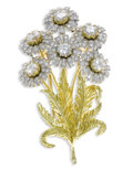 Estate Jewelry:Brooches - Pins, Diamond, Platinum, Gold Clip-Brooch, McTeigue. The wildflowerdesign features round brilliant-cut diamonds weighing a tota...