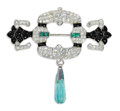 Estate Jewelry:Brooches - Pins, Art Deco Diamond, Emerald, Onyx, Platinum Brooch. The brooch features full-cut diamonds weighing a total of approximately ...