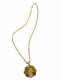 Estate Jewelry:Necklaces, Citrine Intaglio, Gold Pendant-Necklace. The pendant features anoctagon-shaped carved reverse citrine intaglio measuring ...