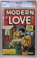 "Golden Age (1938-1955):Romance, Modern Love #5 (EC, 1950) CGC VF 8.0 Cream to off-white pages.Overstreet calls this issue ""scarce,"" and this is the nicest ..."