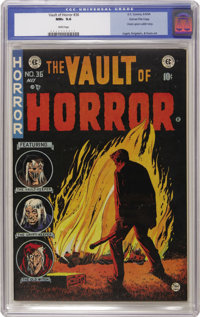 Vault of Horror #36 Gaines File pedigree 1/12 (EC, 1954) CGC NM+ 9.6 White pages. Johnny Craig's cover for this issue sh...