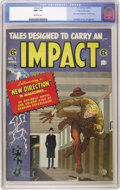 "Golden Age (1938-1955):Horror, Impact #1 Gaines File pedigree 5/12 (EC, 1955) CGC NM- 9.2Off-white pages. EC's ""New Direction"" was, ostensibly, toconform..."