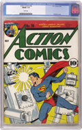 Golden Age (1938-1955):Superhero, Action Comics #36 (DC, 1941) CGC FN/VF 7.0 White pages. The classic robot cover you see here is by Fred Ray, one of the best...