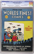 """Golden Age (1938-1955):Superhero, World's Finest Comics #5 Davis Crippen (""""D"""" Copy) pedigree (DC, 1942) CGC FN 6.0 Cream to off-white pages. This is one of th..."""