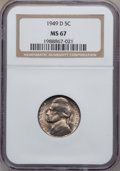 Jefferson Nickels: , 1949-D 5C MS67 NGC. NGC Census: (95/0). PCGS Population (6/0).Mintage: 36,498,000. Numismedia Wsl. Price for problem free ...