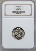 Jefferson Nickels, 1942 5C Type One MS67 W NGC. NGC Census: (99/0). PCGS Population(6/0). Mintage: 49,818,600. Numismedia Wsl. Price for prob...