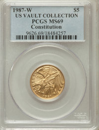 1987-W G$5 Constitution Gold Five Dollar MS69 PCGS. Ex: U.S. Vault Collection. PCGS Population (6481/1221). NGC Census:...