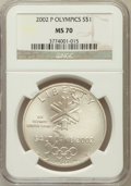 Modern Issues: , 2002-P $1 Olympics Silver Dollar MS70 NGC. NGC Census: (706). PCGSPopulation (353). Numismedia Wsl. Price for problem fre...