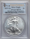 Modern Bullion Coins, 2011-(S) $1 Silver Eagle, Struck at San Francisco First Strike MS70PCGS. PCGS Population (22681). NGC Census: (0)....