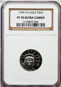 Modern Bullion Coins, 1999-W P$25 Quarter-Ounce Platinum Statue of Liberty PR70 UltraCameo NGC. NGC Census: (627). PCGS Population (195). Mintag...