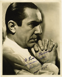 """Bela Lugosi Signed Photo Inscribed to Evan Hoskins, Dated 1935. A strikingly brooding 8"""" x 10"""" study of Bela L..."""
