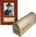 """Movie/TV Memorabilia:Props, """"Dallas"""" Props - Mailbox and Check. A silver metal mailbox withstudio distressing and """"Ewing"""" applied in black letters from...(Total: 1 Item)"""
