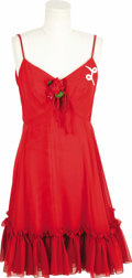 "Movie/TV Memorabilia:Costumes, ""Laverne & Shirley"" Penny Marshall Dress. A custom red crepedress, worn by Penny Marshall in her role as Laverne DeFazio in...(Total: 1 Item)"