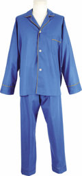 "Movie/TV Memorabilia:Costumes, ""My Three Sons"" Fred MacMurray Screen-Worn Pajamas. Steve Douglas pajama set consisting of a royal blue pajama top with gold... (Total: 1 Item)"