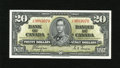 Canadian Currency: , BC-25c $20 1937.. Wide margins and excellent color are traits of this $20 that has a teller pinch. Very Choice Crisp Uncir...