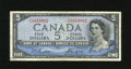 "Canadian Currency: , BC-31b $5 1954.. This ""Devil's Face"" hair style Fine example isfree of pinholes or edge tears...."