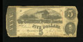 Confederate Notes:1863 Issues, T60 $5 1863. Edge furling is a trait. Good-Very Good....