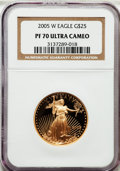 Modern Bullion Coins, 2005-W G$25 Half-Ounce Gold Eagle PR70 Ultra Cameo NGC. NGC Census: (1134). PCGS Population (231). Numismedia Wsl. Price f...