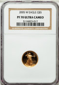 Modern Bullion Coins, 2005-W G$5 Tenth-Ounce Gold Eagle PR70 Ultra Cameo NGC. NGC Census:(1648). PCGS Population (314). Numismedia Wsl. Price f...