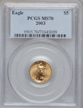 Modern Bullion Coins, 2003 $5 1/10 Oz Gold Eagle MS70 PCGS. PCGS Population (386). NGCCensus: (3570). Numismedia Wsl. Price for problem free NG...