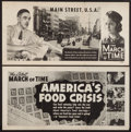 """Movie Posters:Documentary, The March of Time (20th Century Fox, 1941 & 1943). Posters (2) (14"""" X 28"""") """"Main Street, U.S.A."""" & """"America's Food Crisis."""" ... (Total: 2 Items)"""
