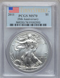 Modern Bullion Coins, 2011 $1 Silver Eagle, 25th Anniversary First Strike MS70 PCGS. PCGSPopulation (38356). NGC Census: (52895)....