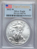 Modern Bullion Coins, 2012-W $1 Silver Eagle, First Strike MS70 PCGS. PCGS Population(2642). NGC Census: (0). ...