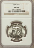 Walking Liberty Half Dollars: , 1942 50C MS67 NGC. NGC Census: (370/4). PCGS Population (232/5).Mintage: 47,839,120. Numismedia Wsl. Price for problem fre...