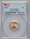 Modern Bullion Coins, 2009 $5 Tenth-Ounce Gold Eagle, First Strike MS70 PCGS. PCGSPopulation (8410). NGC Census: (0). ...