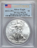 Modern Bullion Coins, 2012(-W) $1 Silver Eagle, Struck at West Point First Strike MS70PCGS. PCGS Population (12938). NGC Census: (27704)....