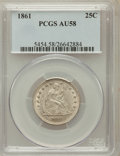 Seated Quarters: , 1861 25C AU58 PCGS. PCGS Population (74/338). NGC Census: (99/323).Mintage: 4,854,600. Numismedia Wsl. Price for problem f...