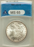 Morgan Dollars: , 1881-CC $1 MS65 ANACS. NGC Census: (2030/1003). PCGS Population(4293/1564). Mintage: 296,000. Numismedia Wsl. Price for pr...