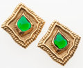 Luxury Accessories:Accessories, Scherrer Gold & Emerald-Effect Gripoix Clip-On Earrings. ...