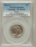 Buffalo Nickels: , 1913-S 5C Type Two -- Cleaned -- PCGS Genuine. AU Details. NGCCensus: (15/1037). PCGS Population (84/1527). Mintage: 1,209...