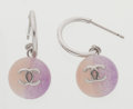 Luxury Accessories:Accessories, Chanel Silver, Purple & Pink CC Earrings. ...