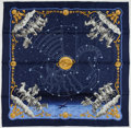 "Luxury Accessories:Accessories, Hermes Navy & Gold ""Cosmos,"" by Philippe Ledoux Silk Scarf. ..."