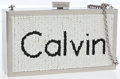 Luxury Accessories:Bags, Calvin Klein Stainless Steel Partial Beaded Clutch with ShoulderChain. ...