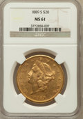 Liberty Double Eagles: , 1889-S $20 MS61 NGC. NGC Census: (660/639). PCGS Population(342/1077). Mintage: 774,700. Numismedia Wsl. Price for problem...