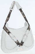 Luxury Accessories:Bags, Fendi White Leather Selleria Shoulder Bag with Silver Hardware. ...